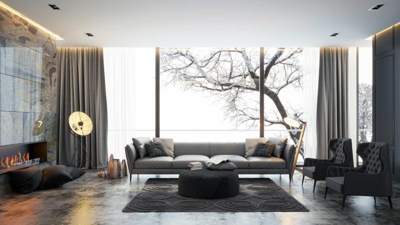 salon avec un sol en béton ciré