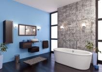 Une couleur froide et claire pour une grande salle de bains