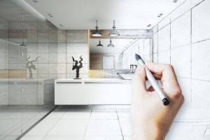 Dessin à la main de salle de bain