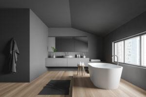 salle de bain grise plancher clair