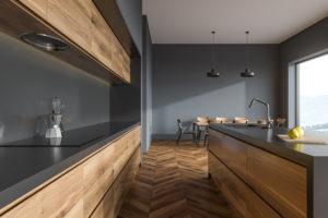 cuisine linéaire bois gris