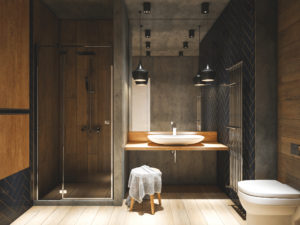 bois dans la salle de bain
