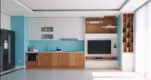 cuisine ouverte bleue